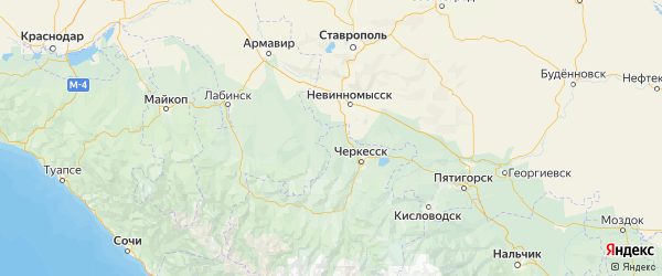 Карта Адыге-Хабльского района Республики Карачаево-Черкесии с городами и населенными пунктами