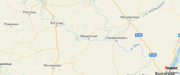 Карта Шолоховского района Ростовской области с городами и населенными пунктами