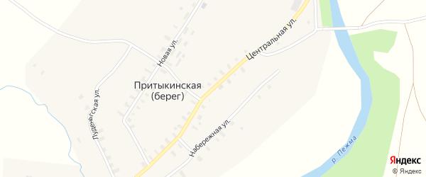 Центральная улица на карте деревни Притыкинской (берега) Архангельской области с номерами домов