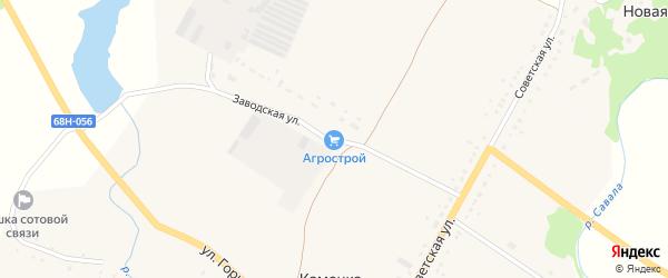 Заводская улица на карте села Каменки Тамбовской области с номерами домов