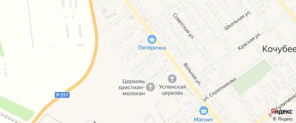 Саратовский переулок на карте Кочубеевского села Ставропольского края с номерами домов