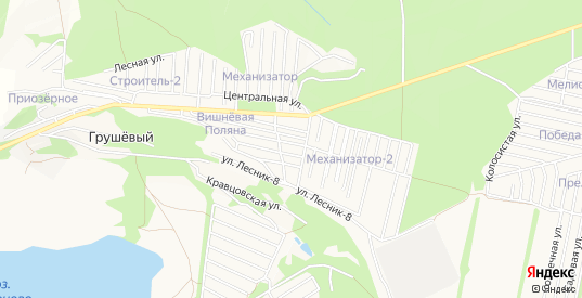 Карта территории СНТ Лесник в Ставрополе с улицами, домами и почтовыми отделениями со спутника онлайн