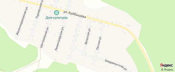 Вельская улица на карте поселка Шунема Архангельской области с номерами домов