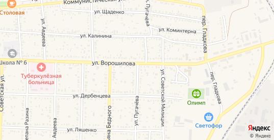 Улица Пугачева в Морозовске с номерами домов на карте. Спутник и схема онлайн