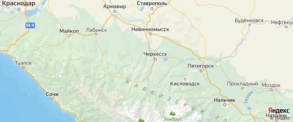 Карта Хабезского района Республики Карачаево-Черкесии с городами и населенными пунктами