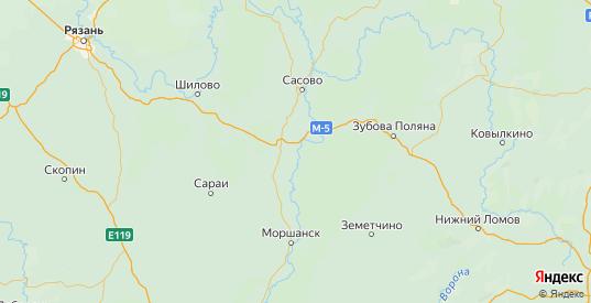 Карта Шацкого района Рязанской области с городами и населенными пунктами