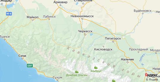 Карта Абазинского района республики Карачаево-Черкесия с городами и населенными пунктами