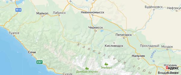 Карта Абазинского района Республики Карачаево-Черкесии с городами и населенными пунктами