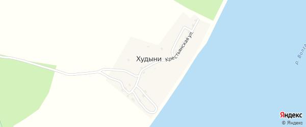 Крестьянская улица на карте деревни Худыни Ивановской области с номерами домов