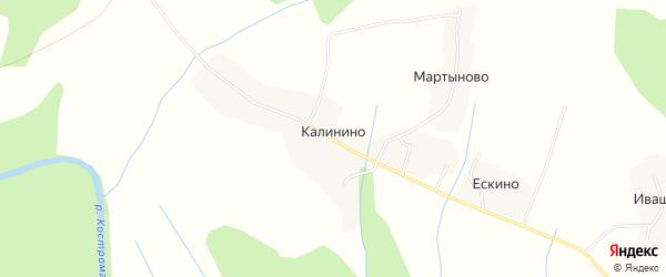 Карта деревни Калинино в Костромской области с улицами и номерами домов