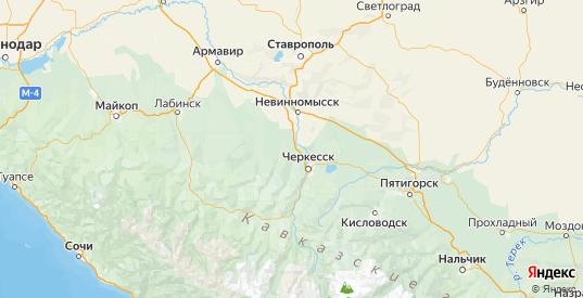Карта Ногайского района республики Карачаево-Черкесия с городами и населенными пунктами