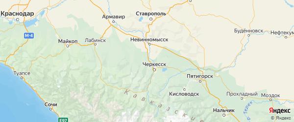 Карта Ногайского района Республики Карачаево-Черкесии с городами и населенными пунктами