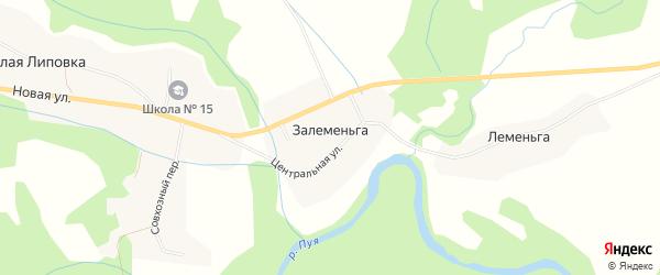 Карта деревни Залеменьги в Архангельской области с улицами и номерами домов