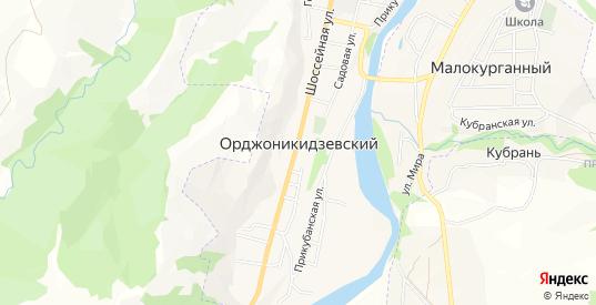 Карта поселка Орджоникидзевский в республике Карачаево-Черкесия с улицами, домами и почтовыми отделениями со спутника онлайн