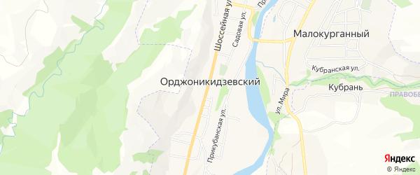 Карта Орджоникидзевского поселка города Карачаевска в Карачаево-Черкесии с улицами и номерами домов