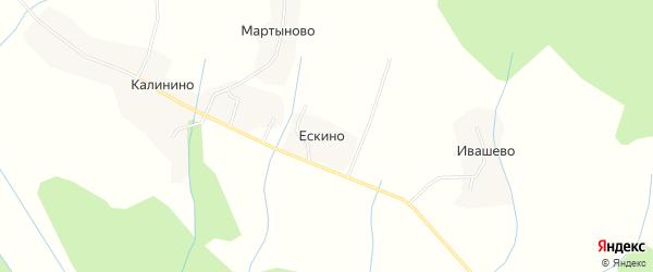 Карта деревни Ескино в Костромской области с улицами и номерами домов