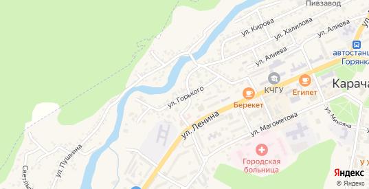 Улица Горького в Карачаевске с номерами домов на карте. Спутник и схема онлайн