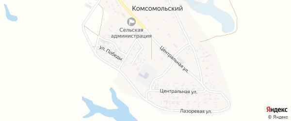 Школьный переулок на карте Комсомольского поселка Ростовской области с номерами домов