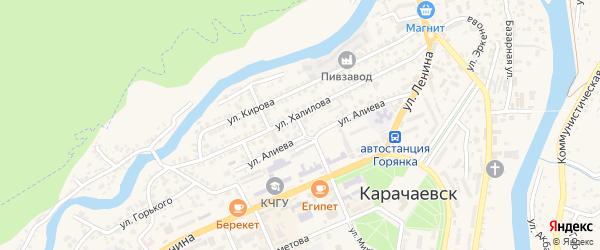 Дачный переулок на карте Карачаевска с номерами домов