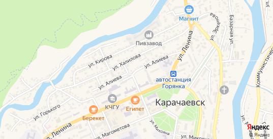 Улица Алиева в Карачаевске с номерами домов на карте. Спутник и схема онлайн