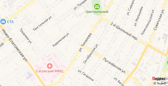 Улица Типанова в Сасово с номерами домов на карте. Спутник и схема онлайн