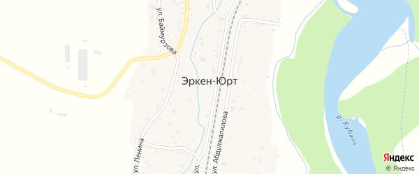 Улица Х.Абишева на карте аула Эркен-Юрт Карачаево-Черкесии с номерами домов