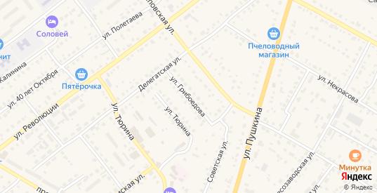 Улица Грибоедова в Сасово с номерами домов на карте. Спутник и схема онлайн