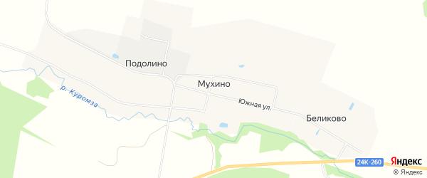 Карта деревни Мухино в Ивановской области с улицами и номерами домов