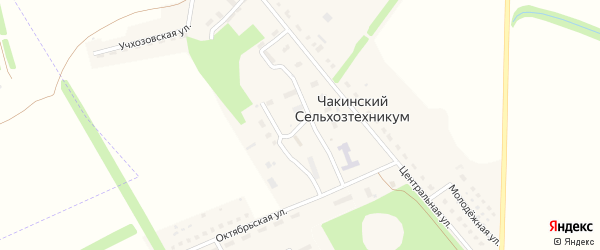 Студенческая улица на карте поселка Чакинский сельхозтехникума Тамбовской области с номерами домов