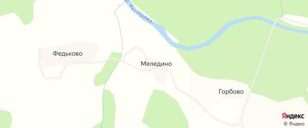Карта деревни Меледино в Костромской области с улицами и номерами домов