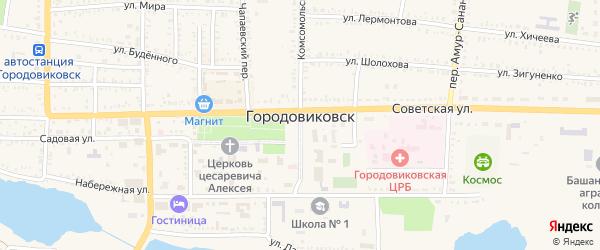 Космический переулок на карте Городовиковска с номерами домов