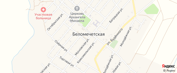 Украинский переулок на карте Беломечетской станицы Ставропольского края с номерами домов