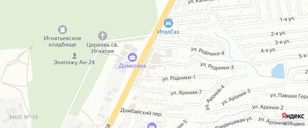 Улица Родники-2 на карте территории сдт Родники с номерами домов