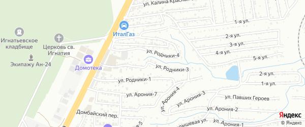 Улица Родники-3 на карте территории сдт Родники с номерами домов