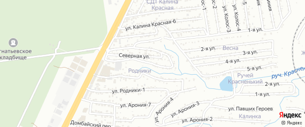 Улица Родники-4 на карте территории сдт Родники с номерами домов