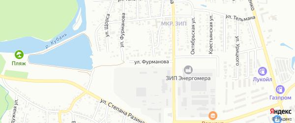 Улица Фурманова на карте Невинномысска с номерами домов