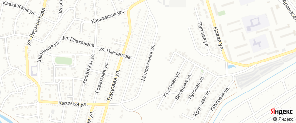 Молодежная улица на карте Невинномысска с номерами домов