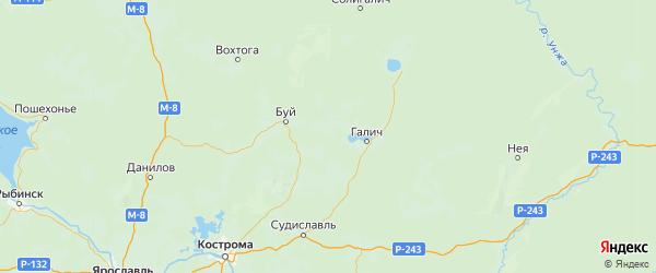 Карта Галичского района Костромской области с городами и населенными пунктами