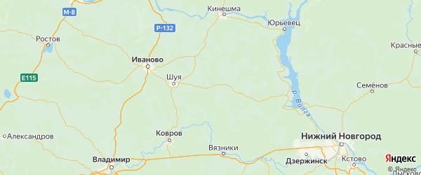 Карта Палехского района Ивановской области с городами и населенными пунктами