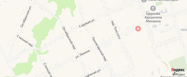 Пролетарский переулок на карте Петровского хутора Волгоградской области с номерами домов
