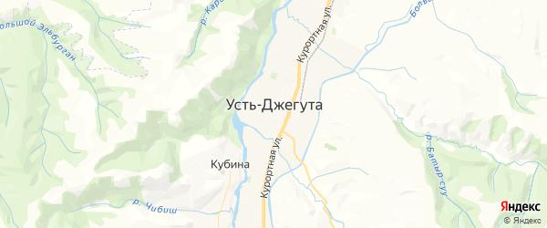 Карта Усть-Джегуты с районами, улицами и номерами домов