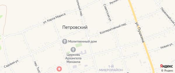 Школьный переулок на карте Петровского хутора Волгоградской области с номерами домов