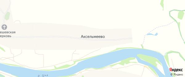 Карта села Аксельмеево в Рязанской области с улицами и номерами домов