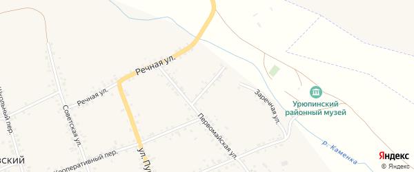 Фонтанный переулок на карте Петровского хутора Волгоградской области с номерами домов