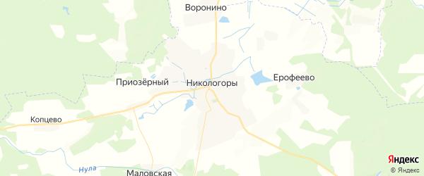 Карта поселка Никологор Владимирской области с районами, улицами и номерами домов