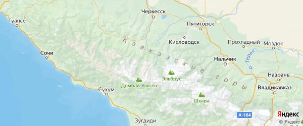 Карта Карачаевского района Республики Карачаево-Черкесии с городами и населенными пунктами