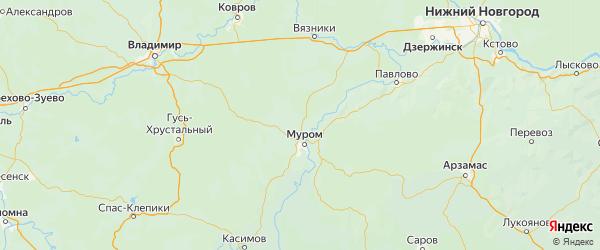 Карта Муромского района Владимирской области с городами и населенными пунктами