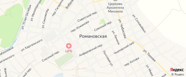 Карта Романовской станицы в Ростовской области с улицами и номерами домов