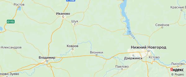 Карта Южского района Ивановской области с городами и населенными пунктами