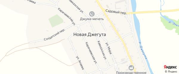 Речная улица на карте аула Новой Джегуты Карачаево-Черкесии с номерами домов